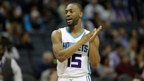 CHARLOTTE, NC - MARCH 10:  Kemba Walker #15 of the Charlotte Hornets reacts during their game against the Orlando Magic at Spectrum Center on March 10, 2017 in Charlotte, North Carolina. NOTE TO USER: User expressly acknowledges and agrees that, by downloading and or using this photograph, User is consenting to the terms and conditions of the Getty Images License Agreement.  (Photo by Streeter Lecka/Getty Images)