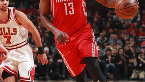 CHICAGO, IL - MARCH 10: James Harden #13 of the Houston Rockets handles the ball against the Chicago Bulls on March 10, 2017 at the United Center in Chicago, Illinois. NOTE TO USER: User expressly acknowledges and agrees that, by downloading and or using this Photograph, user is consenting to the terms and conditions of the Getty Images License Agreement. Mandatory Copyright Notice: Copyright 2017 NBAE (Photo by Jeff Haynes/NBAE via Getty Images)