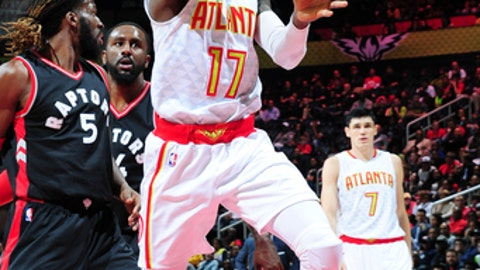 ATLANTA, GA - MARCH 10:  Dennis Schroder #17 of the Atlanta Hawks goes up for a shot during a game against the Toronto Raptors on March 10, 2017 at Philips Arena in Atlanta, Georgia. NOTE TO USER: User expressly acknowledges and agrees that, by downloading and/or using this photograph, user is consenting to the terms and conditions of the Getty Images License Agreement. Mandatory Copyright Notice: Copyright 2017 NBAE (Photo by Scott Cunningham/NBAE via Getty Images)