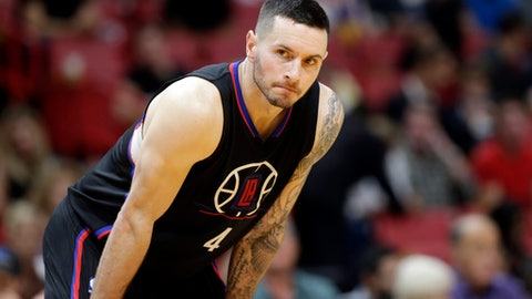 FILE - In this Dec. 16, 2016, file photo, LAos Angeles Clippers guard J.J. Redick stands on the court during the second half of an NBA basketball game against the Miami Heat, in Miami.  More than a decade after his final game at Duke, the 2006 national player of the year and a group of other stars are urging athletes and fans to put civility back in college basketball. (AP Photo/Lynne Sladky, File)
