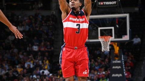 DENVER, CO - MARCH 8: Bradley Beal #3 of the Washington Wizards shoots the ball against the Denver Nuggets during the game on March 8, 2017 at the Pepsi Center in Denver, Colorado. NOTE TO USER: User expressly acknowledges and agrees that, by downloading and/or using this Photograph, user is consenting to the terms and conditions of the Getty Images License Agreement. Mandatory Copyright Notice: Copyright 2017 NBAE (Photo by Garrett Ellwood/NBAE via Getty Images)