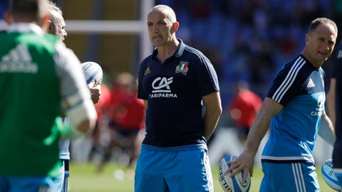 Italy's coach Conor O'Shea walks the pitch before a Six Nations rugby union international match between Italy and France at the Rome Olympic stadium, Saturday, March 11, 2017. (AP Photo/Gregorio Borgia)