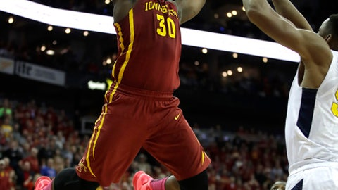 Iowa State's Deonte Burton shoots during the second half of the team's NCAA college basketball game against West Virginia for the championship of the the Big 12 tournament in Kansas City, Mo., Saturday, March 11, 2017. Iowa State won 80-74. (AP Photo/Charlie Riedel)