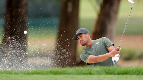 Tony Finau chips onto the 1st green during the final round of the Valspar Championship golf tournament, Sunday, March 12, 2017, at Innisbrook in Palm Harbor, Fla. (AP Photo/Mike Carlson)