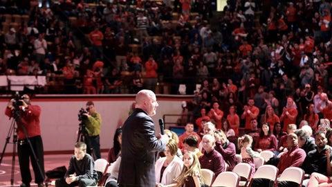 Virginia Tech coach Buzz Williams addresses fans during the team's NCAA men's basketball tournament selection-show viewing event in Blacksburg, Va., Sunday, March 12 2017. (Matt Gentry/The Roanoke Times via AP)