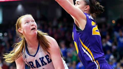 Drake's Becca Hittner, left, tries to get around Northern Iowa's Hannah Schonhardt during an NCAA college basketball game for the Missouri Valley Conference tournament title Sunday, March 12, 2017, in Moline, Ill. Drake defeated Northern Iowa in overtime, 74-69. (Brian Achenbach/The Dispatch via AP)