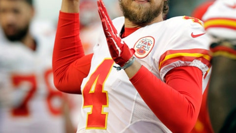 Kansas City Chiefs quarterback Nick Foles (4) during an NFL football game against the San Diego Chargers Sunday, Jan. 1, 2017, in San Diego. (AP Photo/Rick Scuteri)