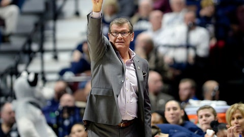 FILe - In this March 6, 2017, file photo, Connecticut head coach Geno Auriemma gestures to his team during the first half of an NCAA college basketball game against South Florida in the American Athletic Conference tournament finals in Uncasville, Conn. UConn finishes the season at No. 1 in The Associated Press women's basketball poll for the 14th time in school history. (AP Photo/Jessica Hill, File)