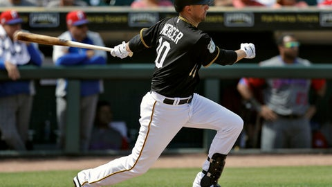 FILE - In this Wednesday, March 8, 2017, file photo, Pittsburgh Pirates' Jordy Mercer watches his RBI double against the Dominican Republic during the second inning of an exhibition baseball game in Bradenton, Fla. Mercer has evolved from stopgap into solution at shortstop for the Pirates. He is hoping to add a little more consistency at the plate after batting a streaky .256 last season. (AP Photo/Chris O'Meara, File)