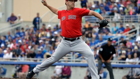 Boston Red Sox's Steven Wright pitchers to the Toronto Blue Jays during the first inning of a spring training baseball game Monday, March 13, 2017, in Dunedin, Fla. (AP Photo/Chris O'Meara)