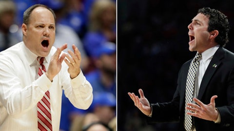 FILE - At left, in a March 10, 2017, file photo, Georgia head coach Mark Fox yells to his players during the first half of an NCAA college basketball game against Kentucky at the Southeastern Conference tournament, in Nashville, Tenn. At right, in a Jan. 17, 2017, file photo, Georgia Tech head coach Josh Pastner stands on the sideline in the first half of an NCAA college basketball game against Louisville in Atlanta. The NIT is a too-familiar postseason landing for each team, but it's a big disappointment for Georgia while the Yellow Jackets surpassed expectations. The state rivals could meet in the second round. (AP Photo/File)