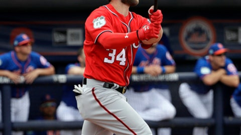 FILE- In this Feb. 25, 2017, file photo, Washington Nationals' Bryce Harper watches his home run against the New York Mets during the second inning of a spring training baseball game in Port St. Lucie, Fla. Harper has already hit five home runs in spring training and Nationals manager Dusty Baker says it's because the slugger is making solid contact with everything he swings at. (AP Photo/David J. Phillip, File)