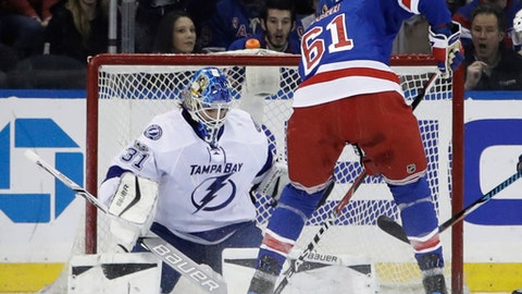 Tampa Bay Lightning goalie Peter Budaj (31) stops a shot on goal by New York Rangers' Rick Nash (61) during the first period of an NHL hockey game, Monday, March 13, 2017, in New York. (AP Photo/Frank Franklin II)