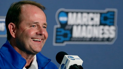 FILE - In this March 19, 2016, file photo, Middle Tennessee head coach Kermit Davis speaks to the media during a news conference ahead of a second-round men's college basketball game in the NCAA Tournament in St. Louis. The Blue Raiders are back in the tournament for second straight year with a gaudy 30-4 record featuring wins over two Southeastern Conference teams. (AP Photo/Charlie Riedel, File)