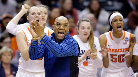 FILE - In this April 3, 2016, file photo, Syracuse head coach Quentin Hillsman cheers during the second half of a national semifinal game against Washington at the women's Final Four in the NCAA college basketball tournament in Indianapolis. Taking Syracuse to the national championship game last season did not change Orange coach Quentin Hillsman. The Orange lost that title game to Connecticut, and now will open this NCAA Tournament on the Huskies' home floor this weekend. (AP Photo/Michael Conroy, File)