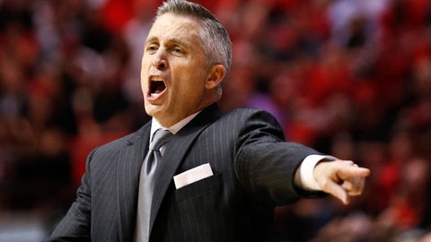 Georgia Tech head coach Brian Gregory gestures during the second half against San Diego State in an NCAA college basketball game in the men's NIT on Wednesday, March 23, 2016, in San Diego. (AP Photo/Lenny Ignelzi)