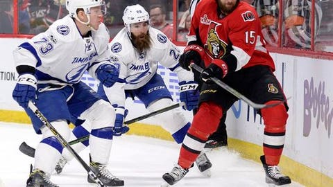 Ottawa Senators' Zack Smith (15) vies for the puck with Tampa Bay Lightning's Adam Erne (73) and Luke Witkowski (28) during the first period of an NHL hockey game in Ottawa, Ontario, Tuesday, March 14, 2017. (Justin Tang/The Canadian Press via AP)