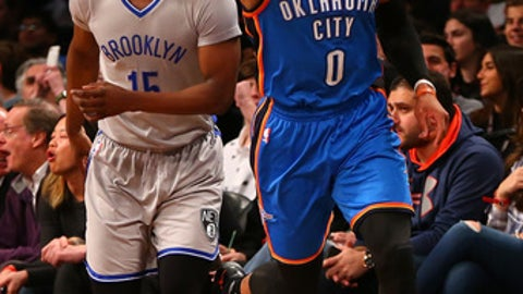 NEW YORK, NY - MARCH 14:  Russell Westbrook #0 of the Oklahoma City Thunder celebrates after hitting a basket against Brooklyn Nets at Barclays Center on March 14, 2017 in in the Brooklyn borough of New York City. NOTE TO USER: User expressly acknowledges and agrees that, by downloading and or using this photograph, User is consenting to the terms and conditions of the Getty Images License Agreement.  (Photo by Mike Stobe/Getty Images)