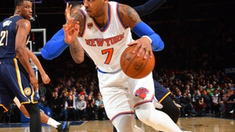 NEW YORK, NY - MARCH 14 : Carmelo Anthony #7 of the New York Knicks drives to the basket against the Indiana Pacers at Madison Square Garden on March 14, 2017 in New York, New York NOTE TO USER: User expressly acknowledges and agrees that, by downloading and/or using this Photograph, user is consenting to the terms and conditions of the Getty Images License Agreement. Mandatory Copyright Notice: Copyright 2017 NBAE (Photo by Jesse D. Garrabrant/NBAE via Getty Images)