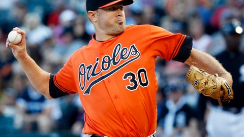 FILE - In this Aug. 6, 2016, file photo, Baltimore Orioles starter Chris Tillman throws against the Chicago White Sox during a baseball game in Chicago. Tillman won't start a fourth consecutive season opener because of a sore right shoulder. Orioles manager Buck Showalter had set Friday as Tillman's day to pitch, but when he had an aborted bullpen session on Sunday, the Orioles had to reevaluate both their timetable and their rotation. (AP Photo/Nam Y. Huh, File)