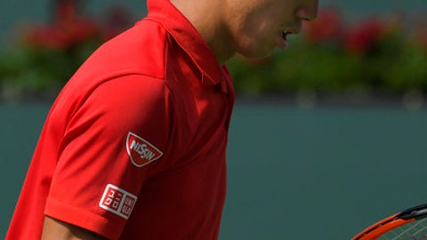 Kei Nishikori, of Japan, reacts after winning a point against Donald Young at the BNP Paribas Open tennis tournament, Wednesday, March 15, 2017, in Indian Wells, Calif. Nishikori won 6-2, 6-4. (AP Photo/Mark J. Terrill)