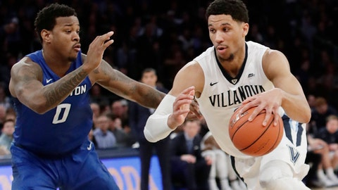 FILE - In this March 11, 2017, file photo, Villanova's Josh Hart (3) drives past Creighton's Marcus Foster (0) during the first half of an NCAA college basketball game in the final of the Big East men's tournament in New York. Villanova, the defending tournament champion, plays Mount St. Mary's in the first round this year. (AP Photo/Frank Franklin II, File)