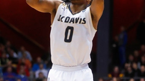 UC Davis' Brynton Lemar shoots against North Carolina Central during the second half of a First Four game of the NCAA men's college basketball tournament, Wednesday, March 15, 2017, in Dayton, Ohio. UC Davis won 67-63. (AP Photo/John Minchillo)
