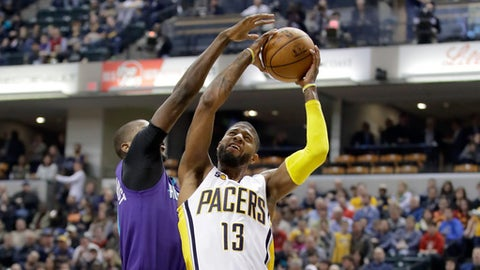INDIANAPOLIS, IN - MARCH 15:  Paul George #13 of the Indiana Pacers shoots the ball during the game against the Charlotte Hornets at Bankers Life Fieldhouse on March 15, 2017 in Indianapolis, Indiana.  NOTE TO USER: User expressly acknowledges and agrees that, by downloading and or using this photograph, User is consenting to the terms and conditions of the Getty Images License Agreement  (Photo by Andy Lyons/Getty Images)