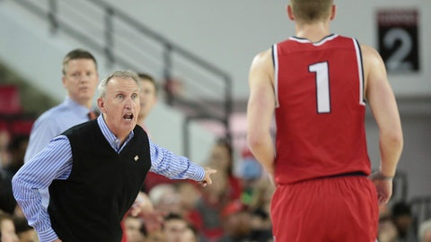 Belmont head coach Rick Byrd yells at guard Austin Luke (01) during an NCAA basketball game against Georgia in the National Invitational Tournament at the University of Georgia's Stegeman Coliseum in Athens, Ga., Wednesday, March 15, 2017. Belmont won 78-69. (John Roark/ Athens Banner-Herald via AP)