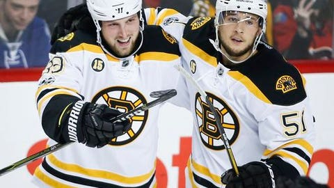 Boston Bruins' Matt Beleskey, left, celebrates his goal with teammate Ryan Spooner during third period NHL hockey action against the Calgary Flames, in Calgary on Wednesday, March 15, 2017. (Jeff McIntosh/The Canadian Press via AP)