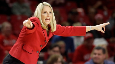 FILE - In this Jan. 7, 2017, file photo, Maryland head coach Brenda Frese directs her players in the first half of an NCAA college basketball game against Northwestern,  in College Park, Md. The journey for Maryland (30-2) begins Friday against Bucknell (27-5). (AP Photo/Patrick Semansky, File)