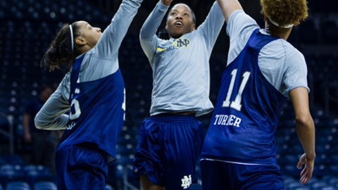 Notre Dame's Lindsay Allen (15) puts up a shot past Diamond Thompson (35) and Brianna Turner (11) during a practice at Purcell Pavilion in South Bend, Ind. Thursday, March 16, 2017 in advance of the first round of the NCAA Division 1 Women's Basketball Tournament hosted by Notre Dame. (Michael Caterina/South Bend Tribune via AP)