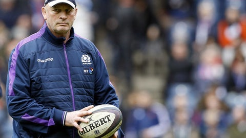 FILE - In this file photo dated Sunday, March 13, 2016, Scotland's head coach Vern Cotter ahead of their Six Nations rugby union international match at Murrayfield stadium, Edinburgh, Scotland.  Cotter has turned the Scotland team from Six Nations no-hopers into contenders, hoping for a third win in the championship when they play Italy upcoming Saturday March 18, 2017. (AP Photo/Scott Heppell, FILE)