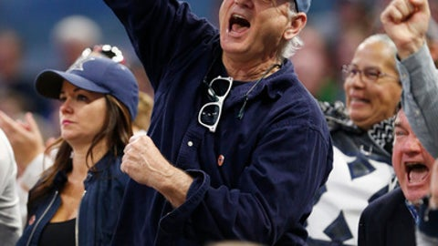 Actor and comedian Bill Murray cheers as he watches the first half of the first round of the NCAA college basketball tournament between Maryland and Xavier, Thursday, March 16, 2017 in Orlando, Fla. (AP Photo/Wilfredo Lee)