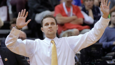 Virginia Commonwealth coach Will Wade reacts during the first half of the team's first-round game against Saint Mary's in the NCAA men's college basketball tournament Thursday, March 16, 2017, in Salt Lake City. (AP Photo/Rick Bowmer)