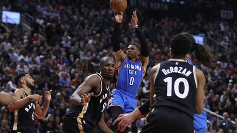 TORONTO, ON- MARCH 16  -  Oklahoma City Thunder guard Russell Westbrook (0) hits a deuce as the Toronto Raptors lose to the Oklahoma City Thunder in Toronto. March 16, 2017.        (Steve Russell/Toronto Star via Getty Images)