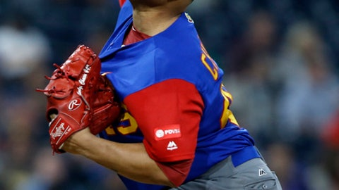 Venezuela pitcher Jhoulys Chacin throws against the Dominican Republic during the first inning of a second-round World Baseball Classic game in San Diego, Thursday, March 16, 2017. (AP Photo/Alex Gallardo)