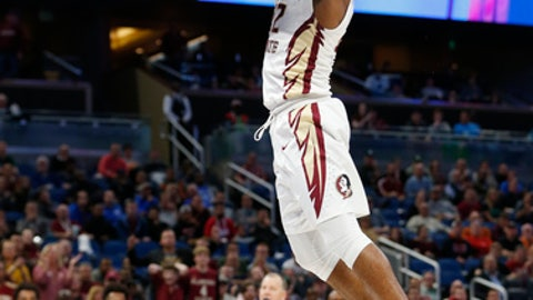 Florida State guard Xavier Rathan-Mayes dunks the ball during the second half of the first round of the NCAA college basketball tournament against Florida Gulf Coast, Thursday, March 16, 2017, in Orlando, Fla. Florida State dwon 86-80. (AP Photo/Wilfredo Lee)