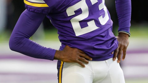 FILE - In this Nov. 6, 2016, file photo, Minnesota Vikings cornerback Terence Newman warms up before an NFL football game against the Detroit Lions, in Minneapolis. Newman wasn't ready to be done with the NFL. The Minnesota Vikings were more than willing to bring him back for a 15th season at age 39.(AP Photo/Jim Mone, File)