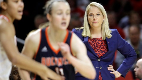 Maryland head coach Brenda Frese, right, watches the first half of a first-round game against Bucknell in the women's NCAA college basketball tournament in College Park, Md., Friday, March 17, 2017. (AP Photo/Patrick Semansky)