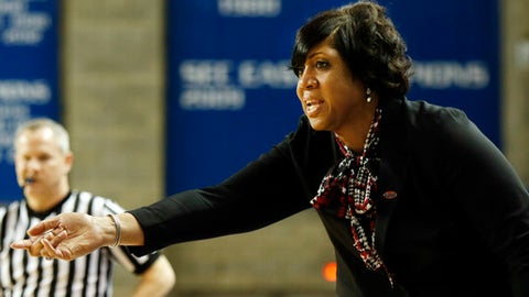 Western Kentucky head coach Michelle Clark-Heard directs her team during a first-round game in the women's NCAA college basketball tournament against Ohio State in Lexington, Ky., Friday, March 17, 2017. Kentucky won 73-70. (AP Photo/James Crisp)