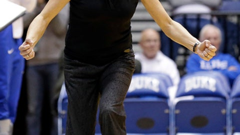 "FILE - In this Feb. 11, 2016, file photo, Duke coach Joanne P. McCallie reacts during the second half of an NCAA college basketball game against Florida State, in Durham, N.C. After a one-year absence, the Blue Devils mark their return to the postseason Saturday night when they face Hampton in their tournament opener at Cameron Indoor Stadium. ""We're just really excited to play,"" coach Joanne P. McCallie said Friday. (AP Photo/Gerry Broome, File)"