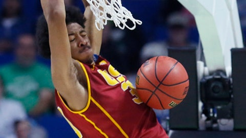 Southern California guard Elijah Stewart dunks in the second half of a first-round game against SMU in the men's NCAA college basketball tournament in Tulsa, Okla., Friday, March 17, 2017. Southern California won 66-65. (AP Photo/Sue Ogrocki)