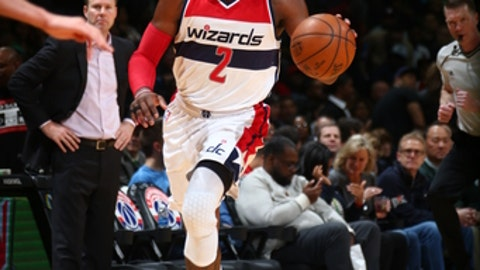 WASHINGTON, DC -  MARCH 17: John Wall #2 of the Washington Wizards handles the ball against the Chicago Bulls on March 17, 2017 at Verizon Center in Washington, DC. NOTE TO USER: User expressly acknowledges and agrees that, by downloading and or using this Photograph, user is consenting to the terms and conditions of the Getty Images License Agreement. Mandatory Copyright Notice: Copyright 2017 NBAE (Photo by Ned Dishman/NBAE via Getty Images)