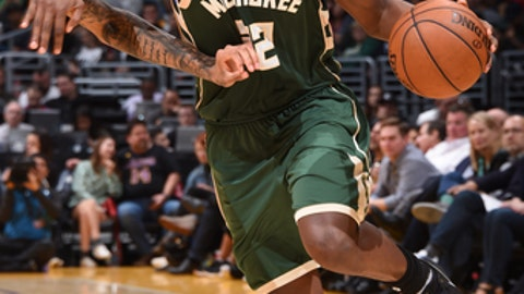 LOS ANGELES, CA - MARCH 17: Khris Middleton #22 of the Milwaukee Bucks handles the ball against the Los Angeles Lakers on March 17, 2017 at STAPLES Center in Los Angeles, California. NOTE TO USER: User expressly acknowledges and agrees that, by downloading and/or using this Photograph, user is consenting to the terms and conditions of the Getty Images License Agreement. Mandatory Copyright Notice: Copyright 2017 NBAE (Photo by Andrew D. Bernstein/NBAE via Getty Images)