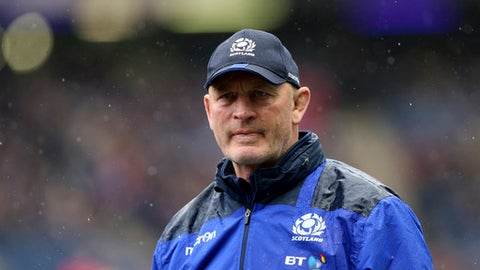 Scotland's icoach Vern Cotter looks on ahead of their Six Nations rugby union international match against Italy at Murrayfield stadium, Edinburgh, Scotland, Saturday, March 18, 2017. (AP Photo/Scott Heppell)