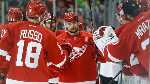 Detroit Red Wings' Tomas Tatar celebrates his goal against the Colorado Avalanche in the third period of an NHL hockey game Saturday, March 18, 2017, in Detroit. (AP Photo/Paul Sancya)