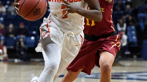 Syracuse's Alexis Peterson dribbles around Iowa State's Jadda Buckley, right, in the second half of a first-round game in the women's NCAA college basketball tournament, Saturday, March 18, 2017, in Storrs, Conn. (AP Photo/Jessica Hill)