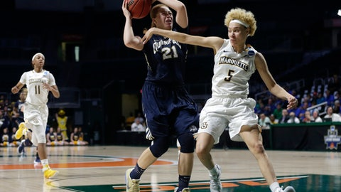 Quinnipiac's Jen Fay (21) drives to the basket as Marquette's Natisha Hiedeman (5) defends during the second half of a first round game in the NCAA women's college basketball tournament, Saturday, March 18, 2017, in Coral Gables, Fla. Quinnipiac won 68-65. (AP Photo/Lynne Sladky)