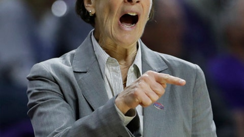 Stanford head coach Tara VanDerveer talks to her players during the second half of a first-round game in the NCAA women's college basketball tournament against New Mexico State Saturday, March 18, 2017, in Manhattan, Kan. Stanford won 72-64. (AP Photo/Charlie Riedel)